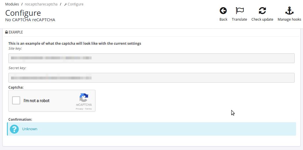 Recaptcha module - Confirmation Unknown message - No CAPTCHA
